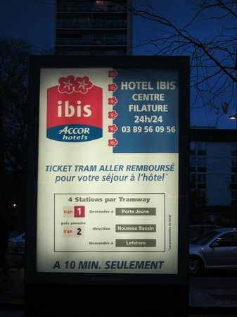 Ibis Mulhouse Centre Filature : Direction at Mulhouse train station