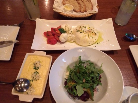 Appia : On the left polenta with Gorgonzola cheese that was ok,arugula beet salad that was delicious and