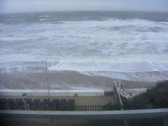 Sandbanks Hotel: More than average high tide covering beach