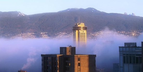 Century Plaza Hotel & Spa view, mist over North Van, photo by Mike Keenan