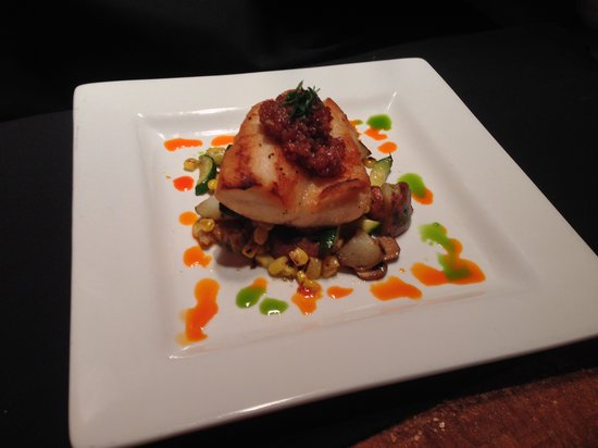 Empire Cafe: Pan Seared Local Vermillion Rockfish with Bacon Jam and a Red Potato Hash with Corn, Zucchini, a