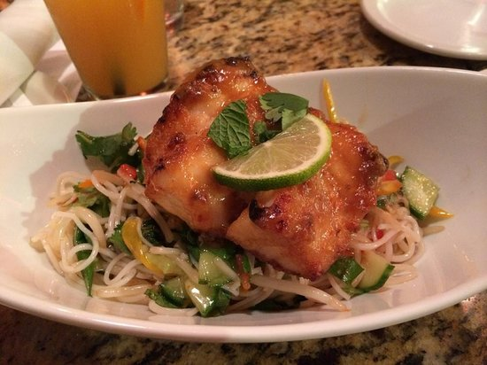 Empire Cafe: Pan Seared Local Vermillion Rock Fish with a Miso Honey Glaze, and a Rice Noodle Salad with Fres
