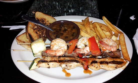 Red Sky BBQ: texas toast, fries and 3 different skewers $10.99