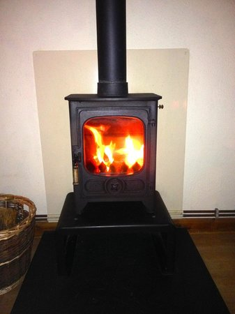 Wildside Highland Lodges: Log burning stove x -Highland park lodges Osprey 1