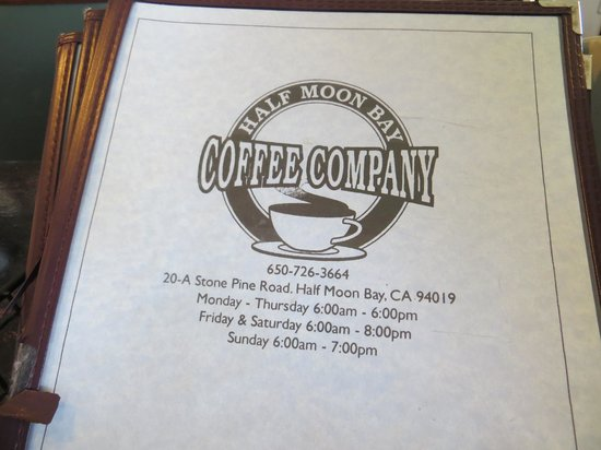 Half Moon Bay Coffee Co : menu