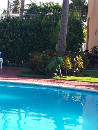 Hotel Merengue Punta Cana: einer der vielen Gärtner, die jeden Morgen unterwegs waren