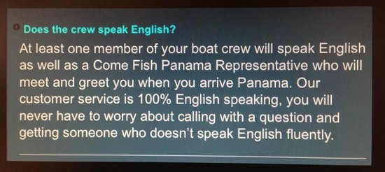 Come Fish Panama: Does the crew speak English?