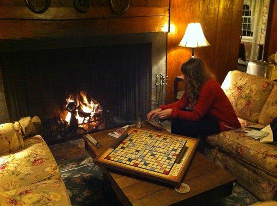 Nutmeg Inn: Relaxing by the fire.