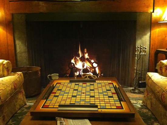 Nutmeg Inn: A game of Scrabble by the fire.