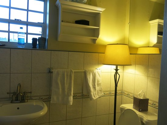 Two Sandals by the Sea Inn - Bed & Breakfast: bathroom lighting was provided by floor lamp