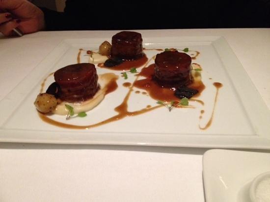 Restaurante Lasarte: pieds de porc presentés comme un dessert