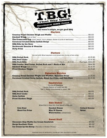 That Boy Good: TBG Menu