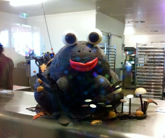 Yarra Valley Wine Tasting Tours : Giant Chocolate frog in the Chocolate factory!  You can see them making the choclate delights