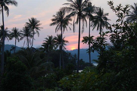 vue de la chambre au moment du coucher du soleil