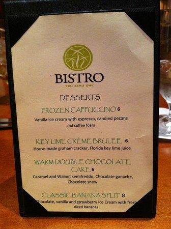 Bistro Ten Zero One: Desserts for next time!