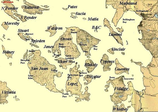 Map San Juan Island Wa Map Of the San Juan Islands, Washington State   Picture of San