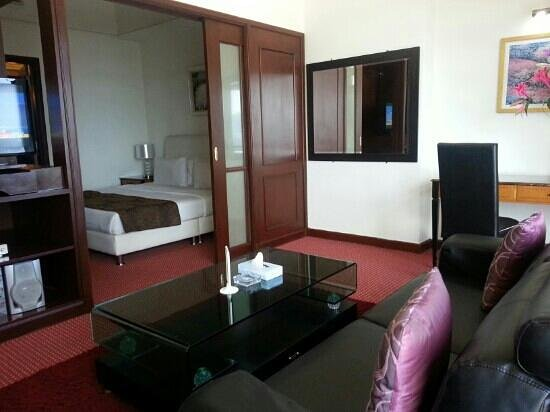 Times Service Suites: the living room and bedroom