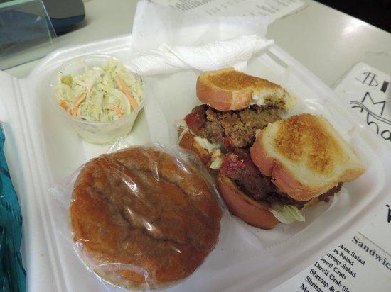 Donna's Delicious Delights: Meatloaf sandwich, slaw, mini-sweet potato ...
