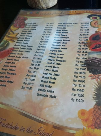 Jonah's Fruit Shake & Snack Bar : Menu
