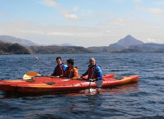 Ridgway Adventure - One Day Activities: Father and sons exploring Loch Laxford (Ben Stack behind)