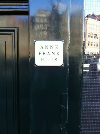 Anne Frank House: Simple sign out front to match the simple yet effective interior.