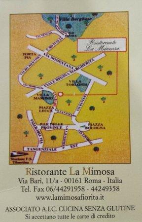 La Mimosa Fiorita: il bigliettino