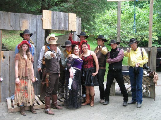 Clear Creek Guest Ranch: wranglers and staff in western skit