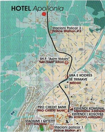 Hotel Map Picture Of Hotel Apollonia Pristina TripAdvisor - pristina map