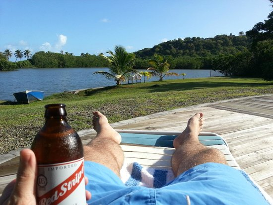 Antigua's Yepton Estate Cottages : View of lagoon from pool area