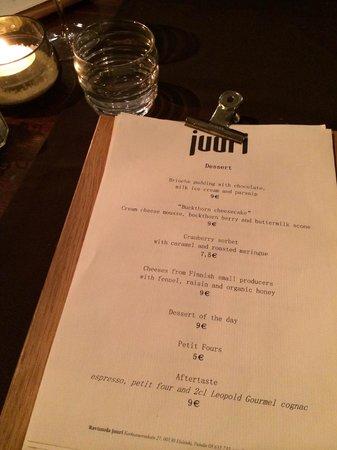 Juuri: Dessert menu