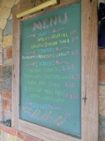 Gingerbread Hotel: dinner menu