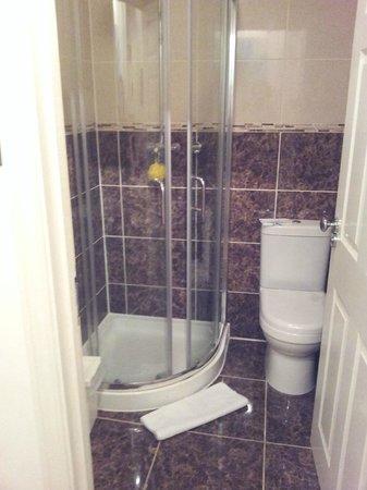 Dockside Hotel: Bathroom, sink is just on tle left