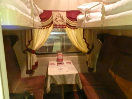 Inside the 2nd class sleeper cabin of the Red Arrow Express.