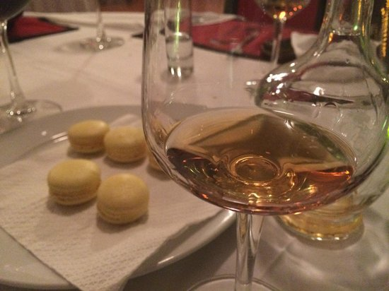 Trois Gourmands: House made Macaroons and complimentary Armagnac