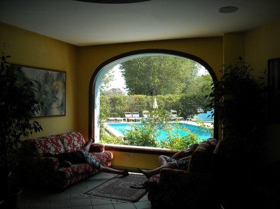 Hotel President: Magnifica vetrata vista piscina.