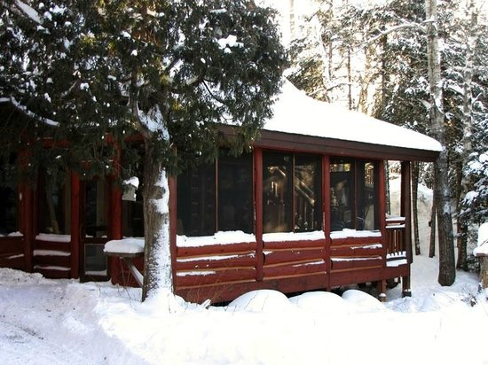 Big Bear Lodge and Cabins: Exterior of the lodge porch that looks out on the lake in winter