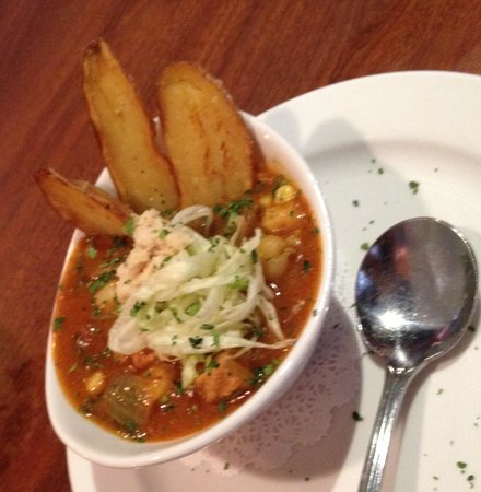 Miss Shirley's: Soup du jour, a tomato based Spanish style soup.