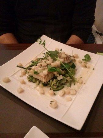 La Pause Gourmande : Cabillaud tagliatelles de courgette et petites st Jacques