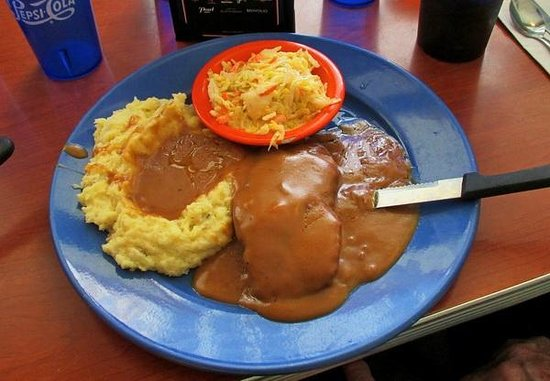 Sam's No. 3: Salisbury steak, mashed potatoes & Cole slaw