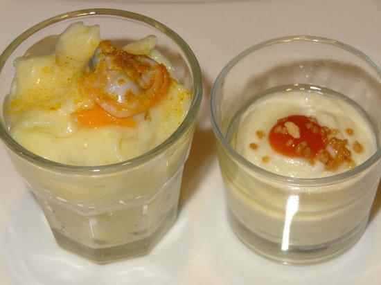 Arbidel restaurante: Brandada de bacalao y crema de patata y coliflor con berberecho.