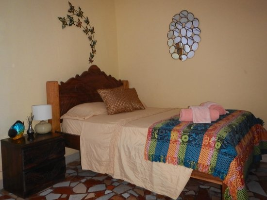 Hostel Wunderbar: Main bed in our Volcano Family Room in the Lodge (fitted with orthopedic mattress)