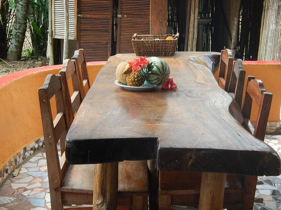 Hostel Wunderbar: Locally hand made tables are available for communal use
