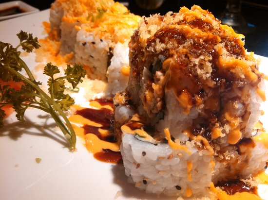 Tsunami Sushi & Hibachi Grill: Happy Hour rolls!  $5. Yummy. Drinks 2 for 1. 4-7pm