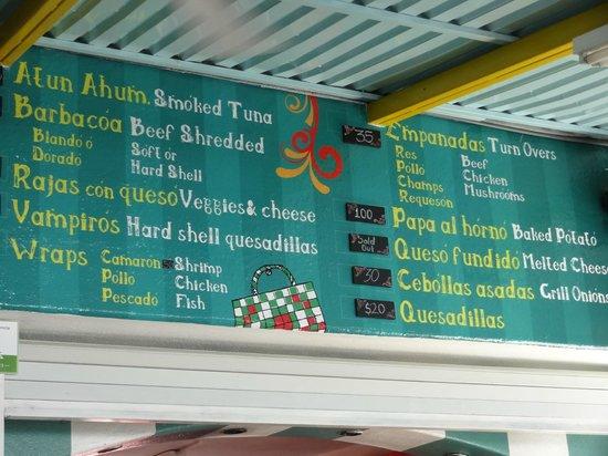 Asi & Asado: Part of the colorful menu board