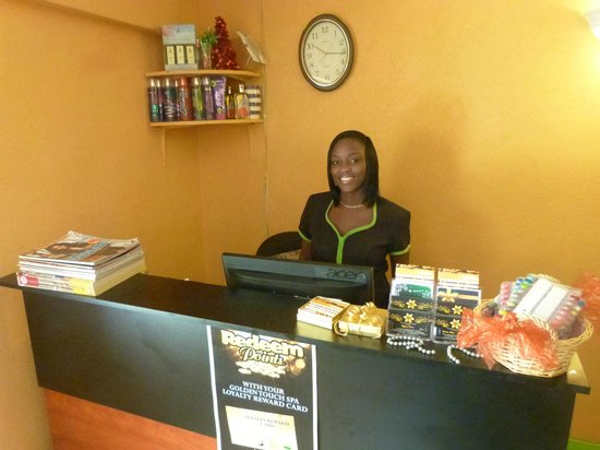 Golden Touch Spa Barbados: Front Desk with our Spa Manager