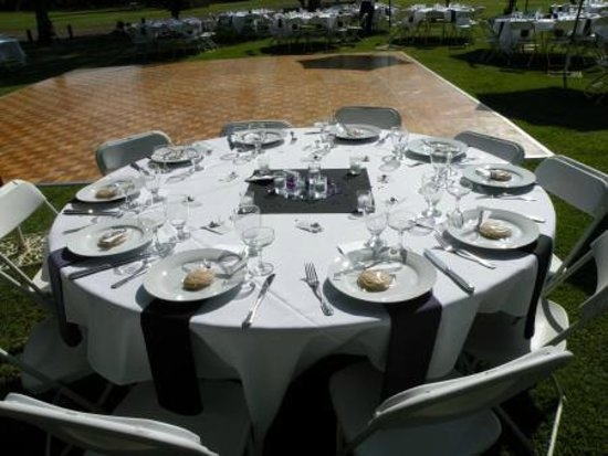 The Fruit Yard : Lake Area Table Setting with Dance Floor