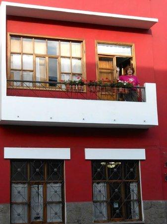 On the balcony of Azul room in Casa de Las Rosas