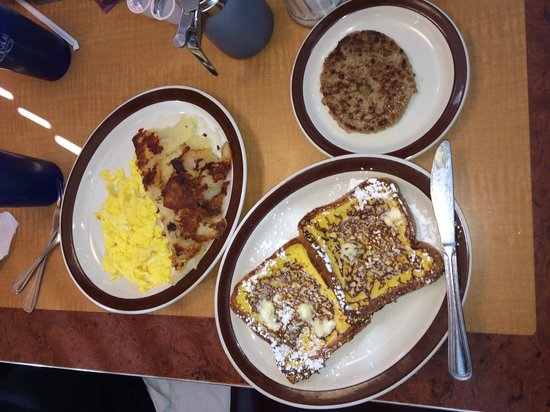 Baker's Restaurant: French toast, scrambled eggs, hash browns and sausage