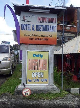 Pacung Indah Hotel & Restaurant: Signboard at restaurant
