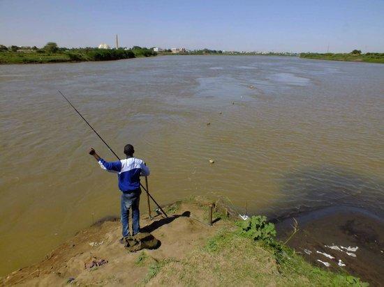 الخرطوم, السودان: Confluence of the Nile, White Nile (left) and Blue Nile (right)
